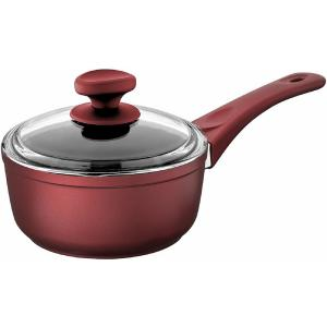 3 qt. Titanium coated Aluminum Non-Stick Sauce Pan in Red with Glass Lid