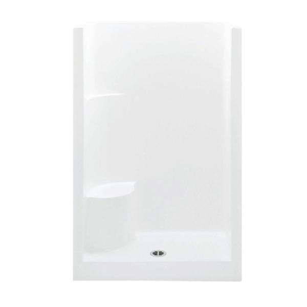 Everyday 48 in. x 33.5 in. x 72 in. 1-Piece Shower Stall with Left Seat and Center Drain in White