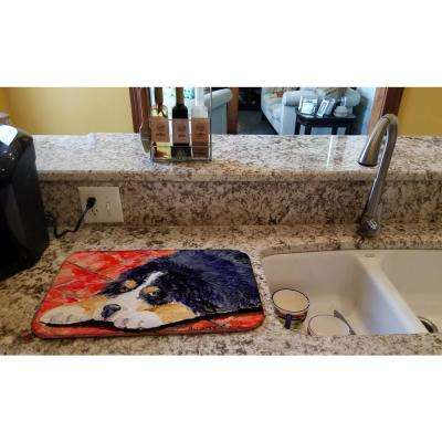 14 in. x 21 in. Multicolor Bernese Mountain Dog Dish Drying Mat