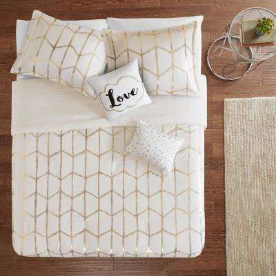 Khloe 5-Piece Ivory/Gold Full/Queen Geometric Duvet Cover Set