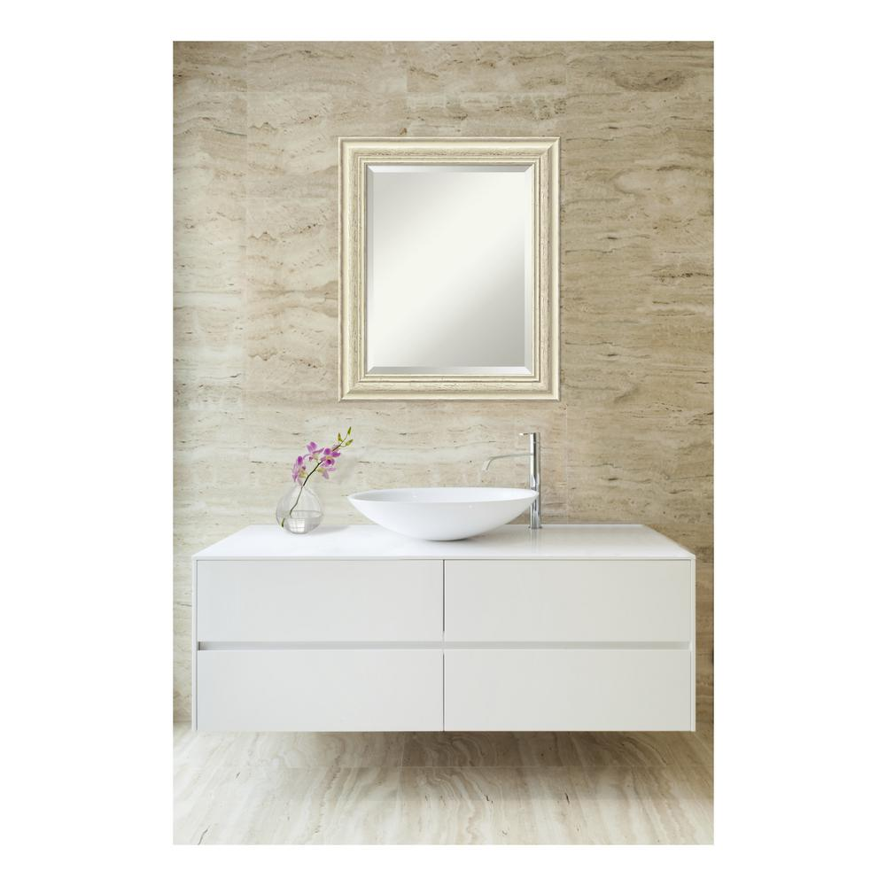 Amanti Art Country White Wash Wood 21 In W X 25 H Distressed Bathroom Vanity Mirror DSW3572559
