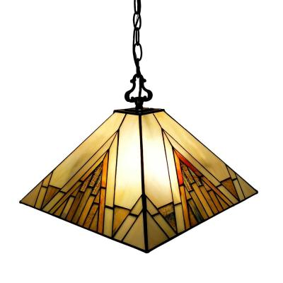 Tiffany 2-Light Gold & Tan Hanging Pendant with Stained Glass Shade