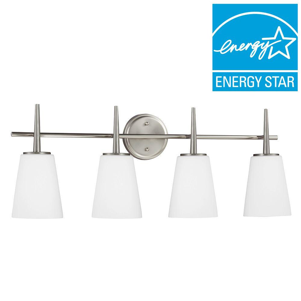 Sea Gull Lighting Driscoll 4-Light Brushed Nickel Fluorescent Wall/Bath Vanity Light with Inside White Painted Etched Glass