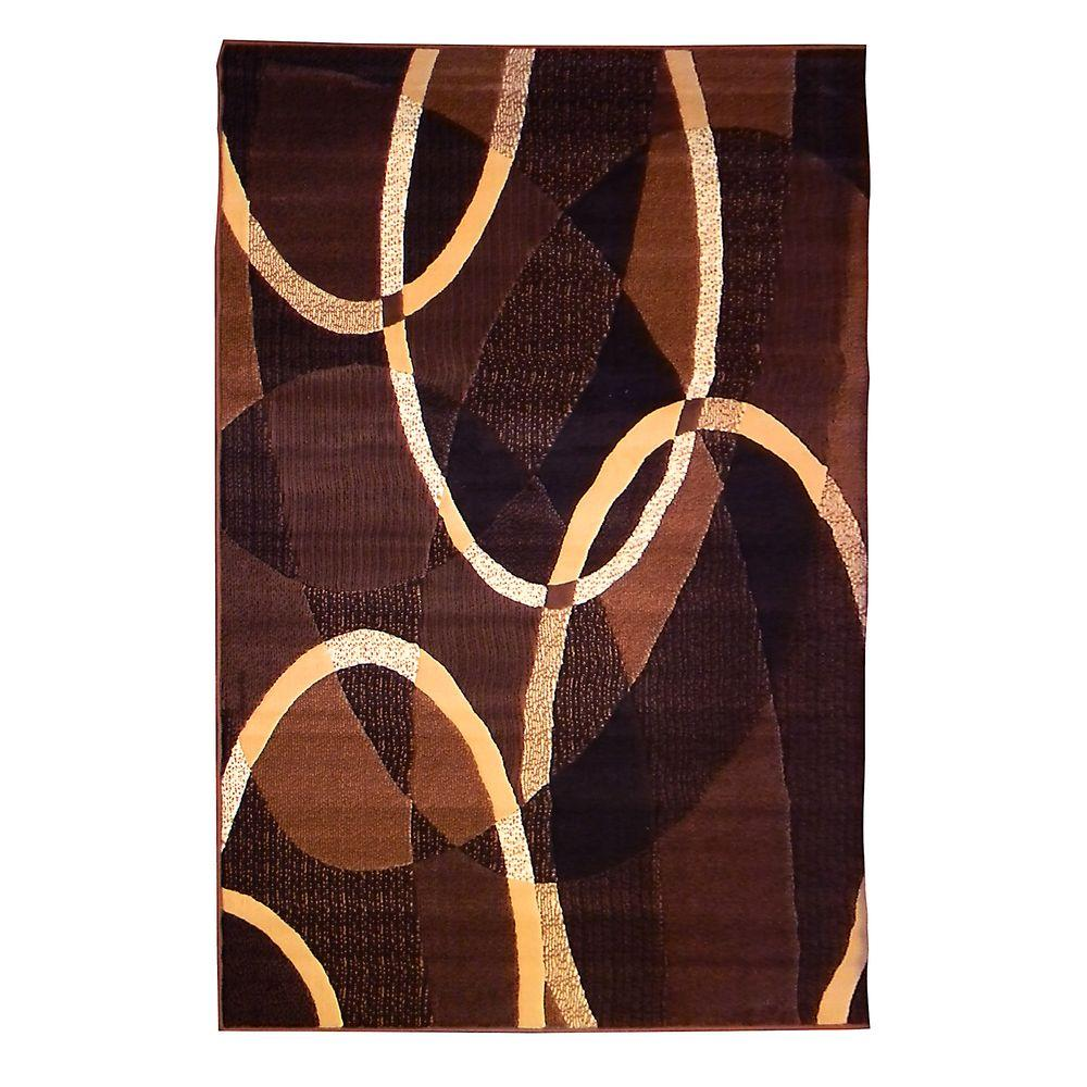 Trendz Geometric Oval Design Chocolate 5 ft. x 7 ft. Indoor
