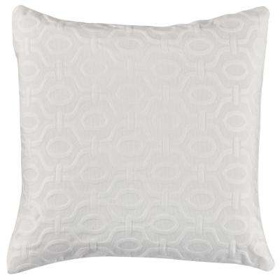 Valiant 20 in. White Square Decorative Pillow