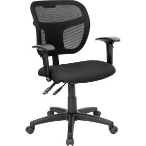 Terrific Mid Back Black Mesh Swivel Task Chair With Fabric Padded Seat And Height Adjustable Arms Home Interior And Landscaping Transignezvosmurscom