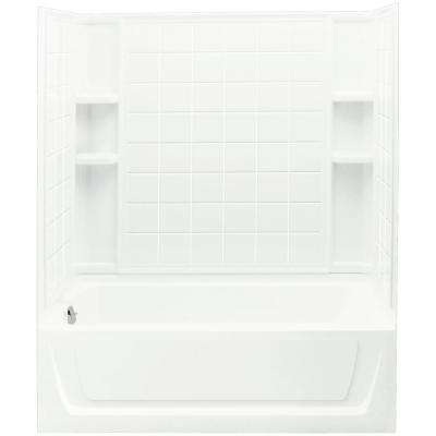 Ensemble 32 in. x 60 in. x 75-1/4 in. Bath and Shower Kit Left Drain in White