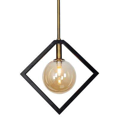 1-Light Matte Black and Vintage Bronze Pendant with Glass