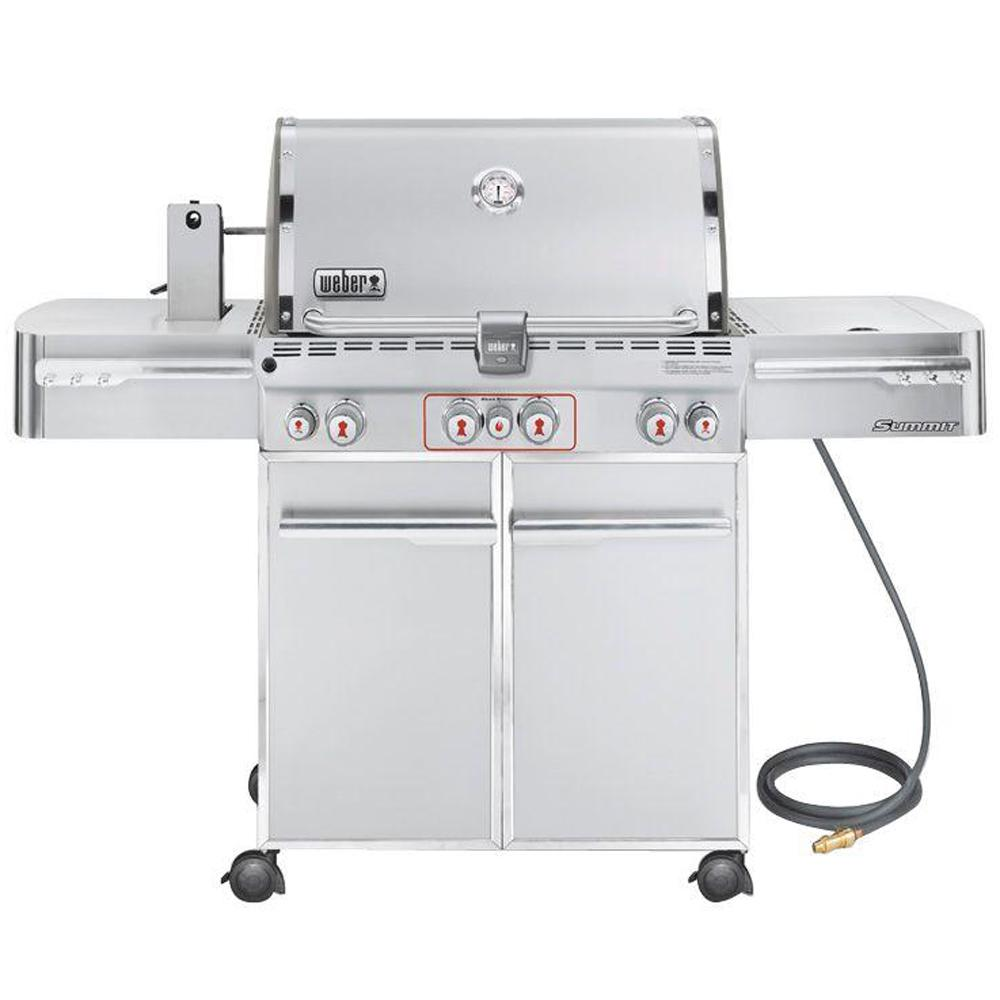 Weber Summit S 470 4 Burner Natural Gas Grill In Stainless Steel With Built In Thermometer And Rotisserie 7270001 The Home Depot