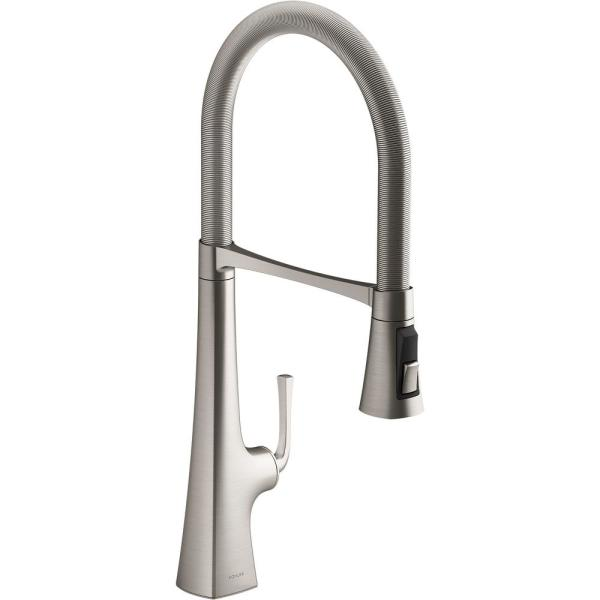 Graze Single-Handle Standard Kitchen Faucet in Vibrant Stainless