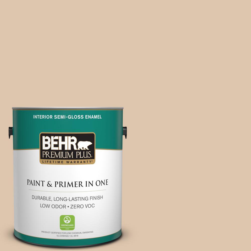 BEHR Premium Plus 1 gal. #PPU4-08 Plateau Semi-Gloss Enamel Zero VOC Interior Paint and Primer in One