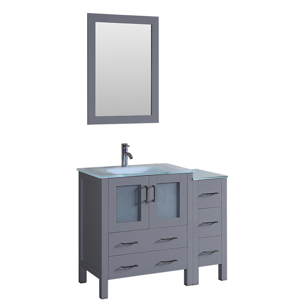 42 In W Single Bath Vanity With Tempered Glass Vanity Top In White