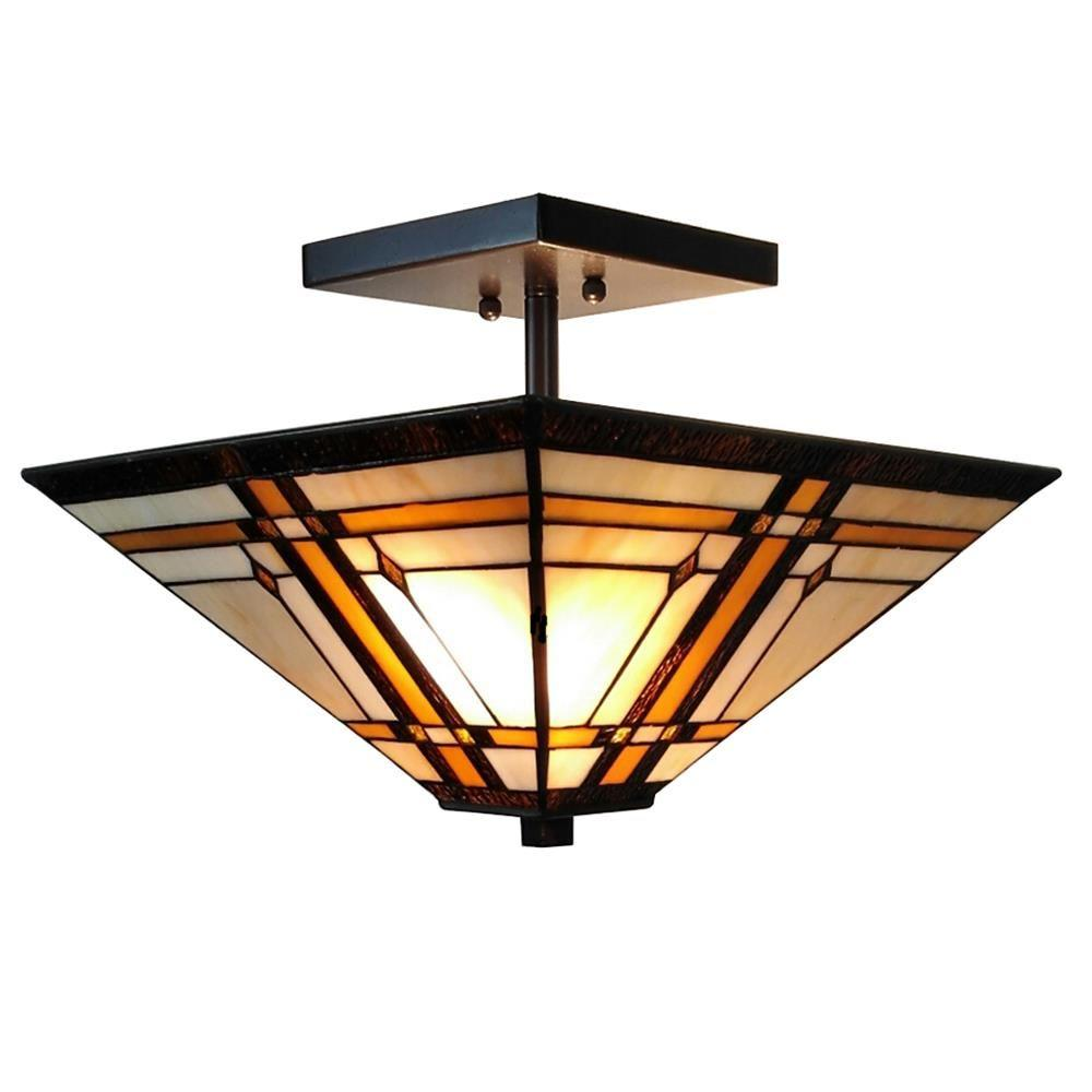 b6156aa1ad1b Amora Lighting 2-Light Tiffany Style Mission Semi Flush Mount ...