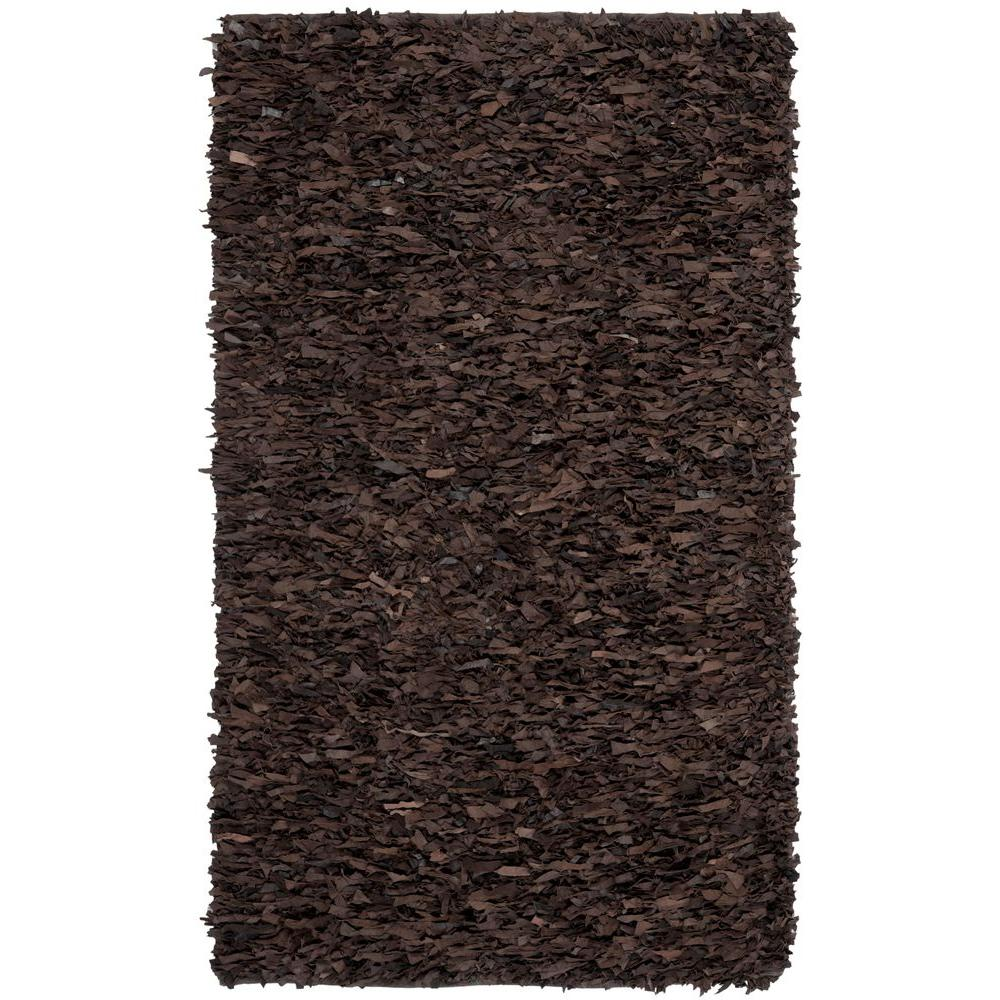 Safavieh Leather Shag Dark Brown 8 ft. x 10 ft. Area Rug