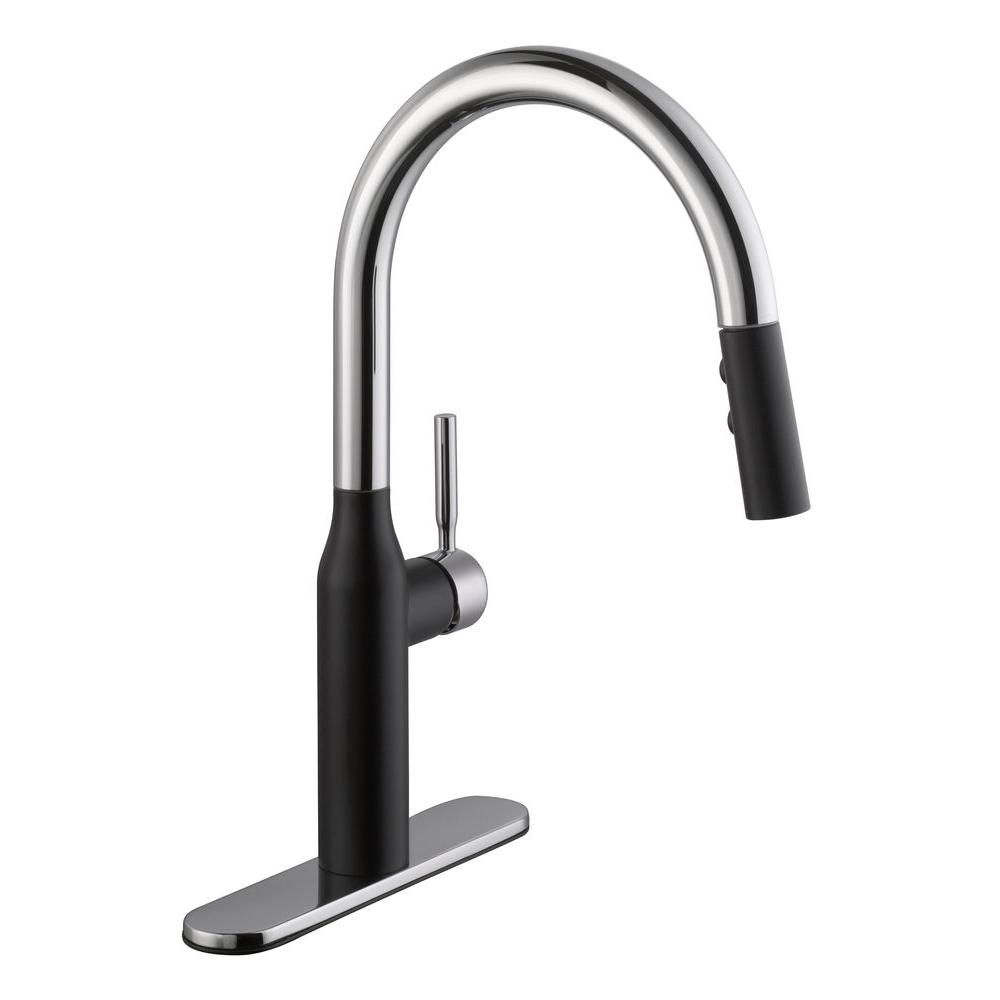 Schon Contemporary Single Handle Pull Down Sprayer Kitchen Faucet In