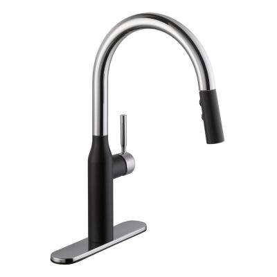 Contemporary Single-Handle Pull-Down Sprayer Kitchen Faucet in Dual Finish Chrome and Matte Black