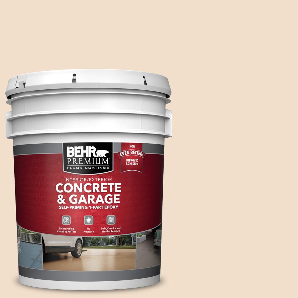 BEHR PREMIUM 5 gal. #S250-1 Macaroon Cream Self-Priming 1-Part Epoxy Satin Interior/Exterior Concrete and Garage Floor Paint