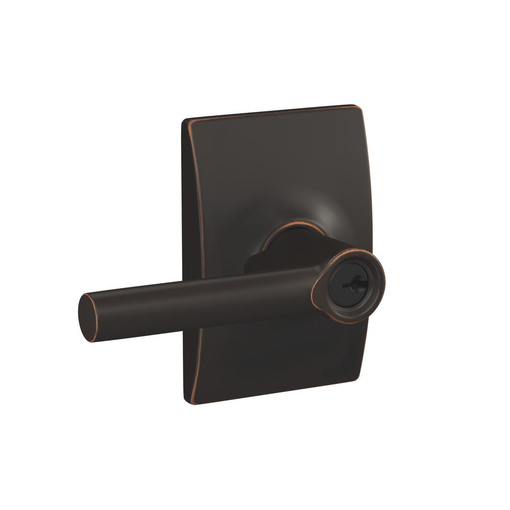 Schlage Broadway Aged Bronze Keyed Entry Door Lever With