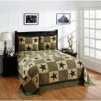 Star Collection  Green & Gold Queen 100% Cotton Patchwork Bedspread Set