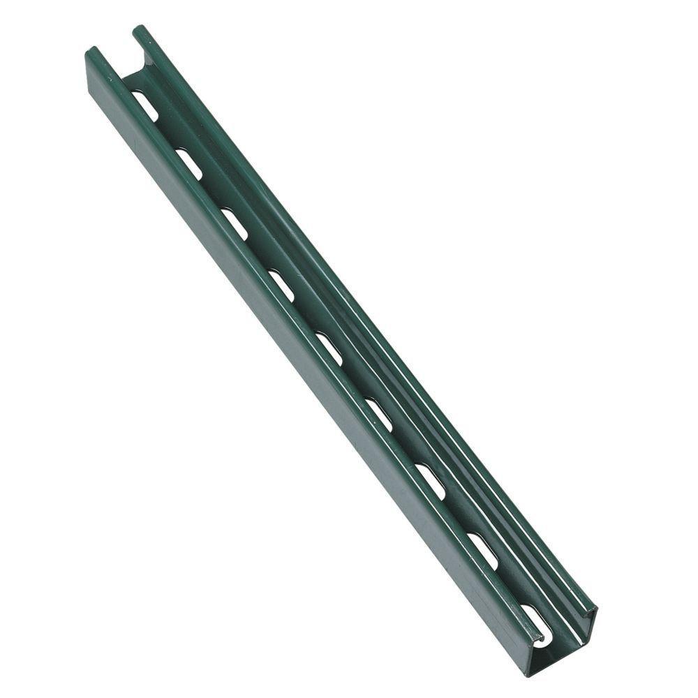 10 ft. 12-Gauge Half Slotted Metal Framing Strut Channel - Green Urethane Powder Coated