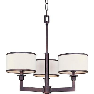 Nexus 3-Light Oil Rubbed Bronze Chandelier with Fabric Shades