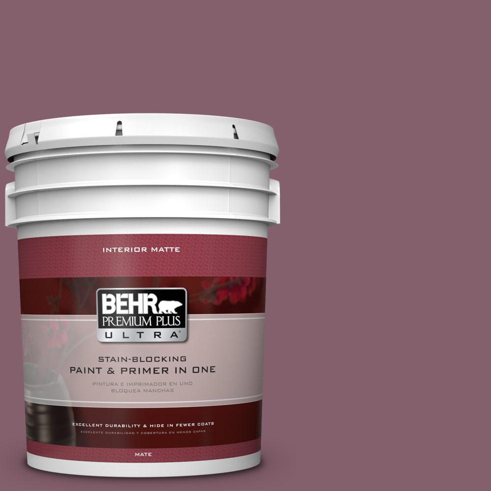 BEHR Premium Plus Ultra 5 gal. #BIC-35 Vintage Plum Matte Interior Paint