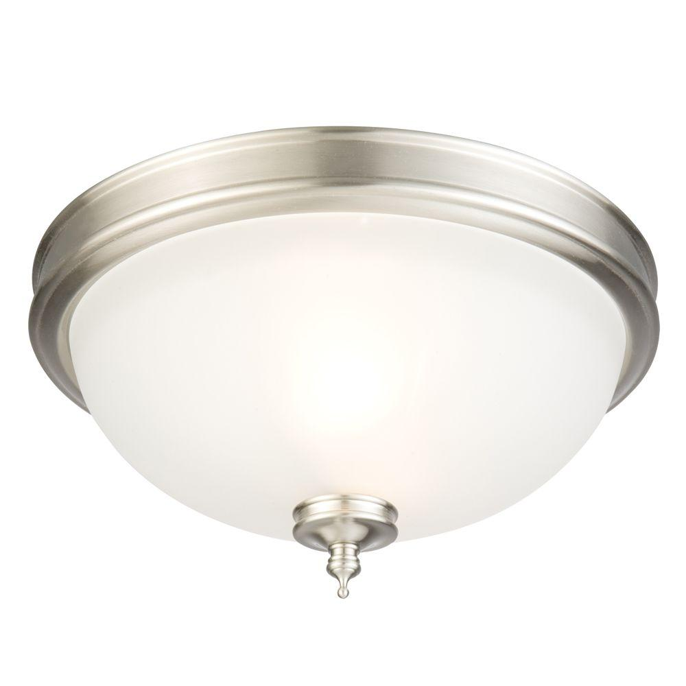 2 Light Brushed Nickel Flush Mount With Frosted Gl Shade