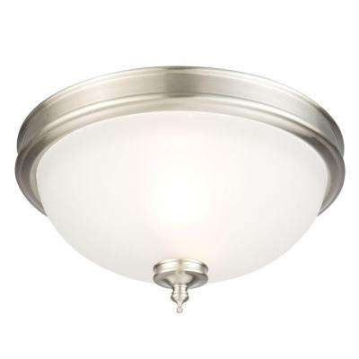 13 in. 2-Light Brushed Nickel Flush Mount with Frosted Glass Shade