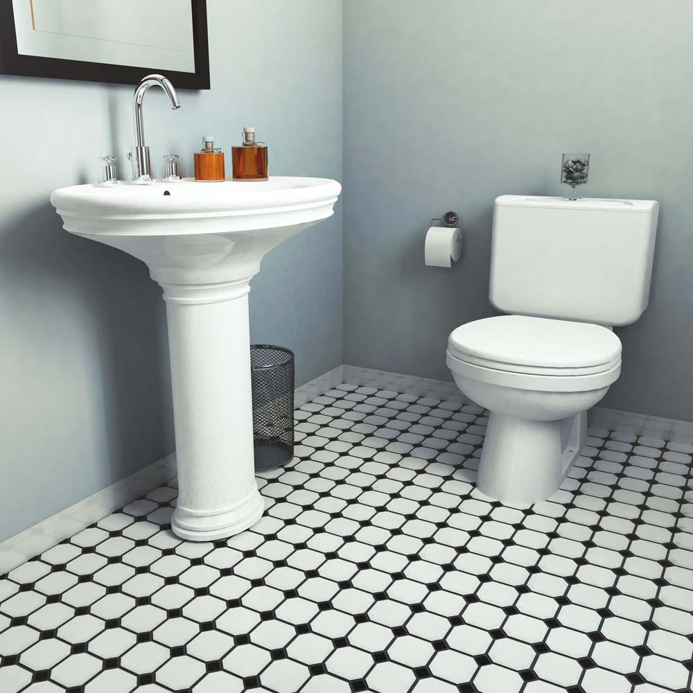 Merola Tile Metro Super Octagon Matte White With Glossy Black Dot 11 5 8x11 8 In X Mm Porcelain Mosaic 9 6 Sq Ft Case