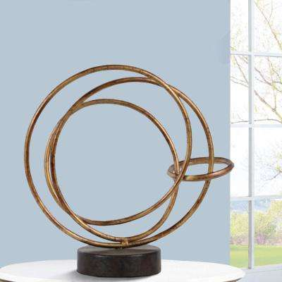 Intertwined Small Round Round Base Rings Gold and Black Metal Abstract Sculpture