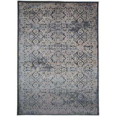 """Transitional Distressed High-Low Texture Dark Gray Area Rug 7' 7""""x10'"""