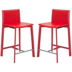Outstanding Safavieh Jason 24 In Red Cushioned Bar Stool Set Of 2 Camellatalisay Diy Chair Ideas Camellatalisaycom