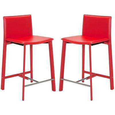 Red Cushioned Bar Stool Set Of 2