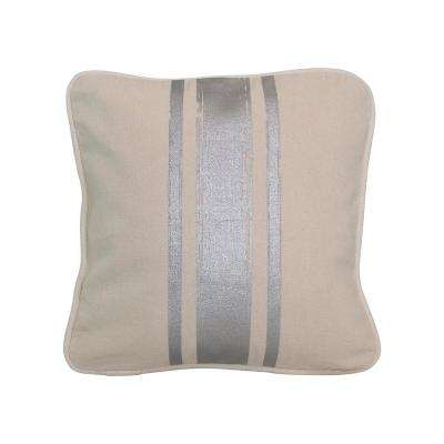 12 in. x 12 in. Natural with Silver Paintstroke Stripes Brushed Canvas  Standard Pillow with Green Eco Friendly Insert