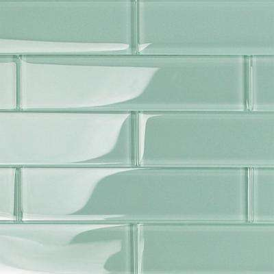 Contempo Light Green 2 in. x 8 in. x 8mm Polished Glass Floor and Wall Tile (1 sq. ft.)