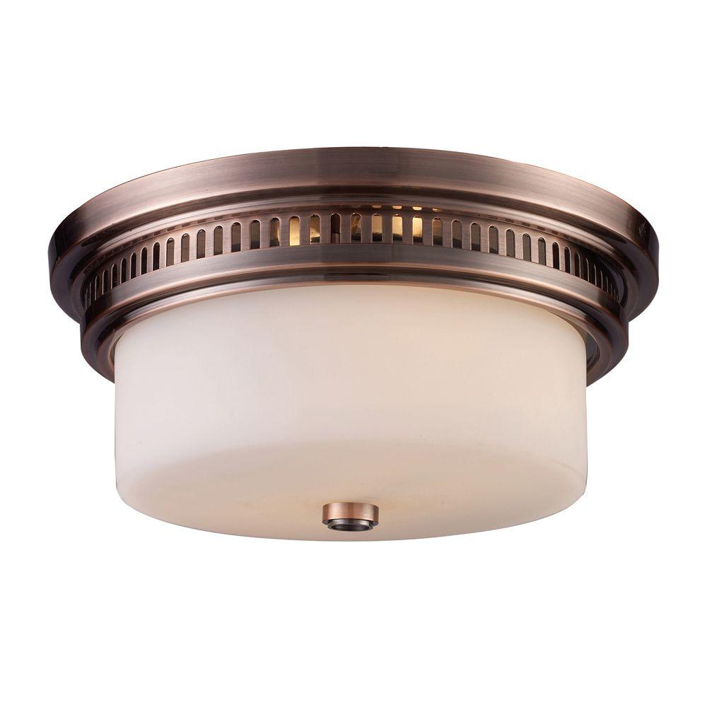 Titan Lighting Chadwick 2-Light Antique Copper Ceiling Flushmount  sc 1 st  Home Depot & Titan Lighting Chadwick 2-Light Antique Copper Ceiling Flushmount-TN ...