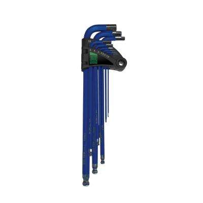 Extra Long Metric Ball Point Blue Hex Key Wrench (9-Piece)