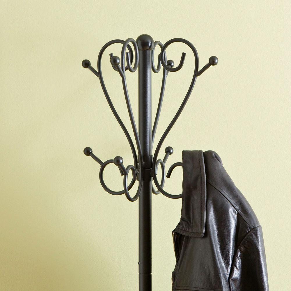 8 Hook Scrolled Metal Coat Rack With Umbrella Storage In