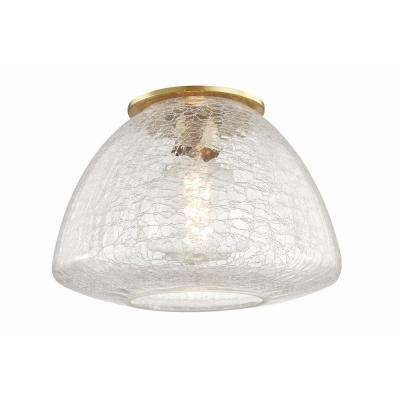Maya 1-Light 12 in. W Aged Brass Flushmount with Clear Crackle Glass Shade