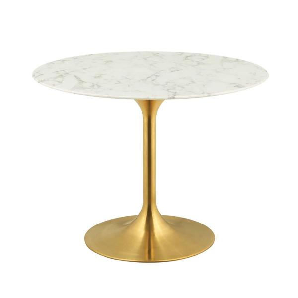 40 in. Lippa in Gold White Round Artificial Marble Dining Table