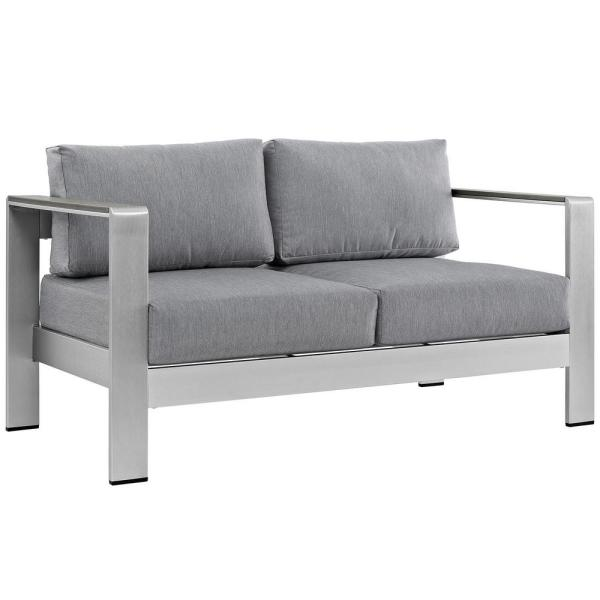 Shore Aluminum Patio Outdoor Loveseat in Silver with Gray Cushions