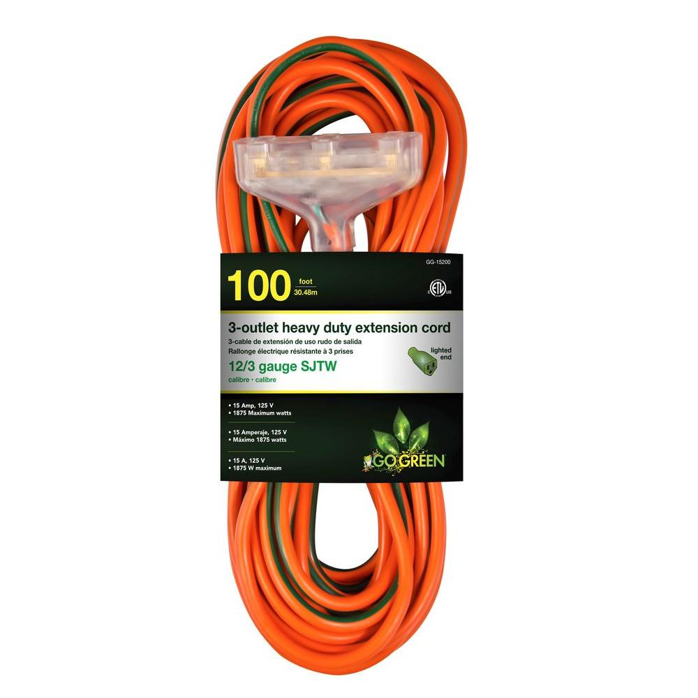 Go Green Power 100 Ft 3 Outlet 12 3 Heavy Duty Extension
