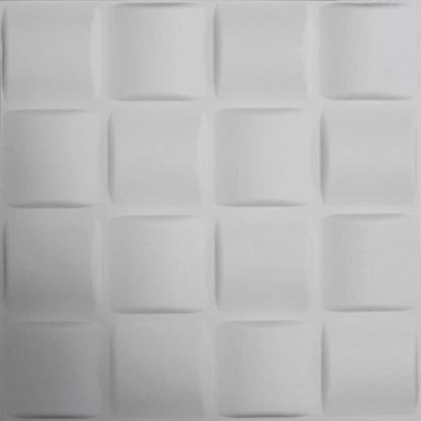 Kingsman Hardware 19.6 in. x 19.6 in. x 1 in. Off-White Plant Fiber Woven Design Glue-On Wainscot Wall Panels (10-Pack)