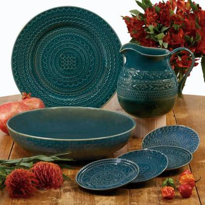 Aztec 4-Piece Patterned Multi-Colored Stoneware Dinnerware Set (Service for 4)