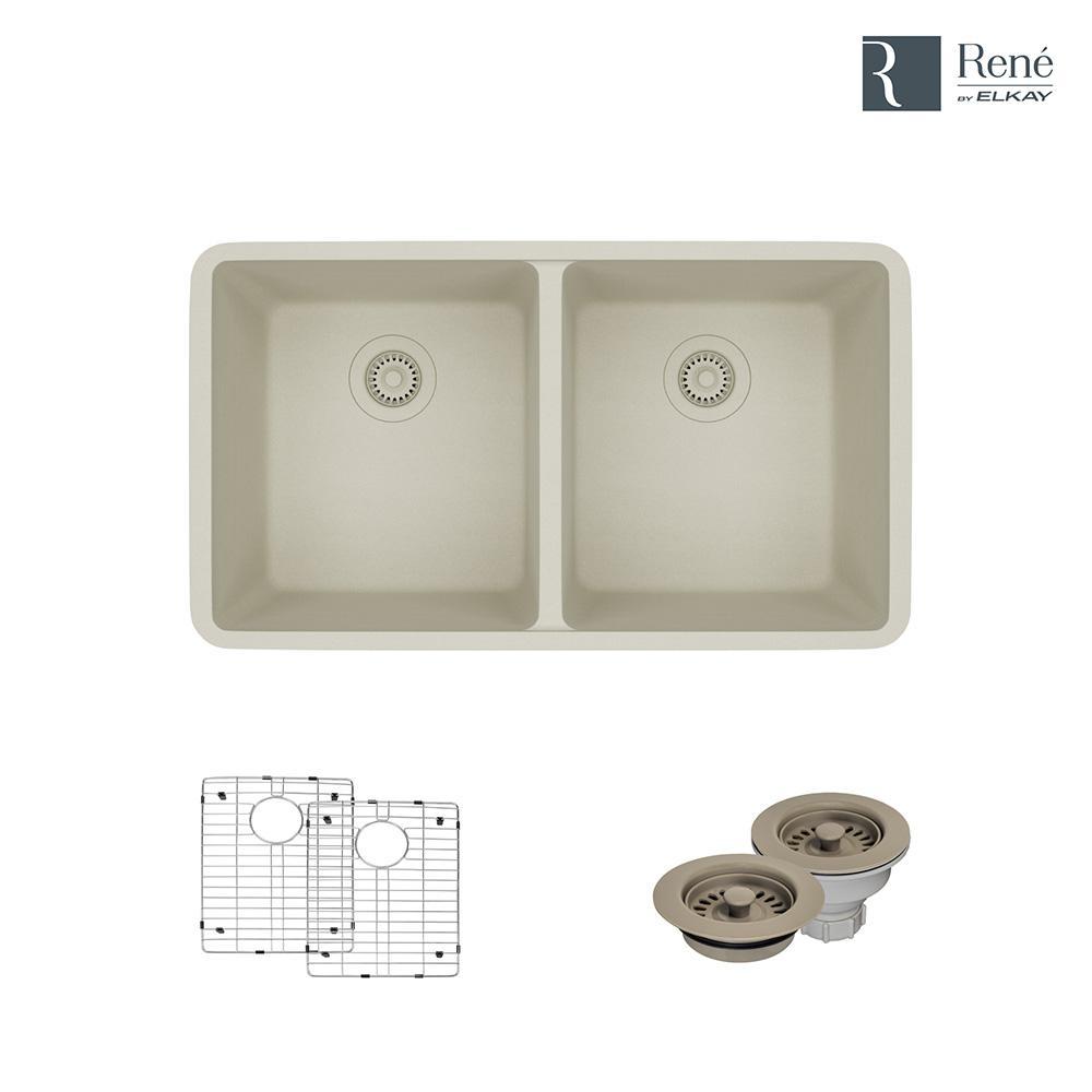 Rene By Elkay Undermount Composite Granite 32 1/2 In. Double Bowl Kitchen