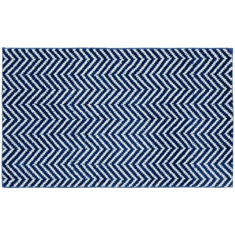 Garland Rug Palazzo II Indigo Blue/White 21 inch x 34 inch Bath Rug by Garland Rug