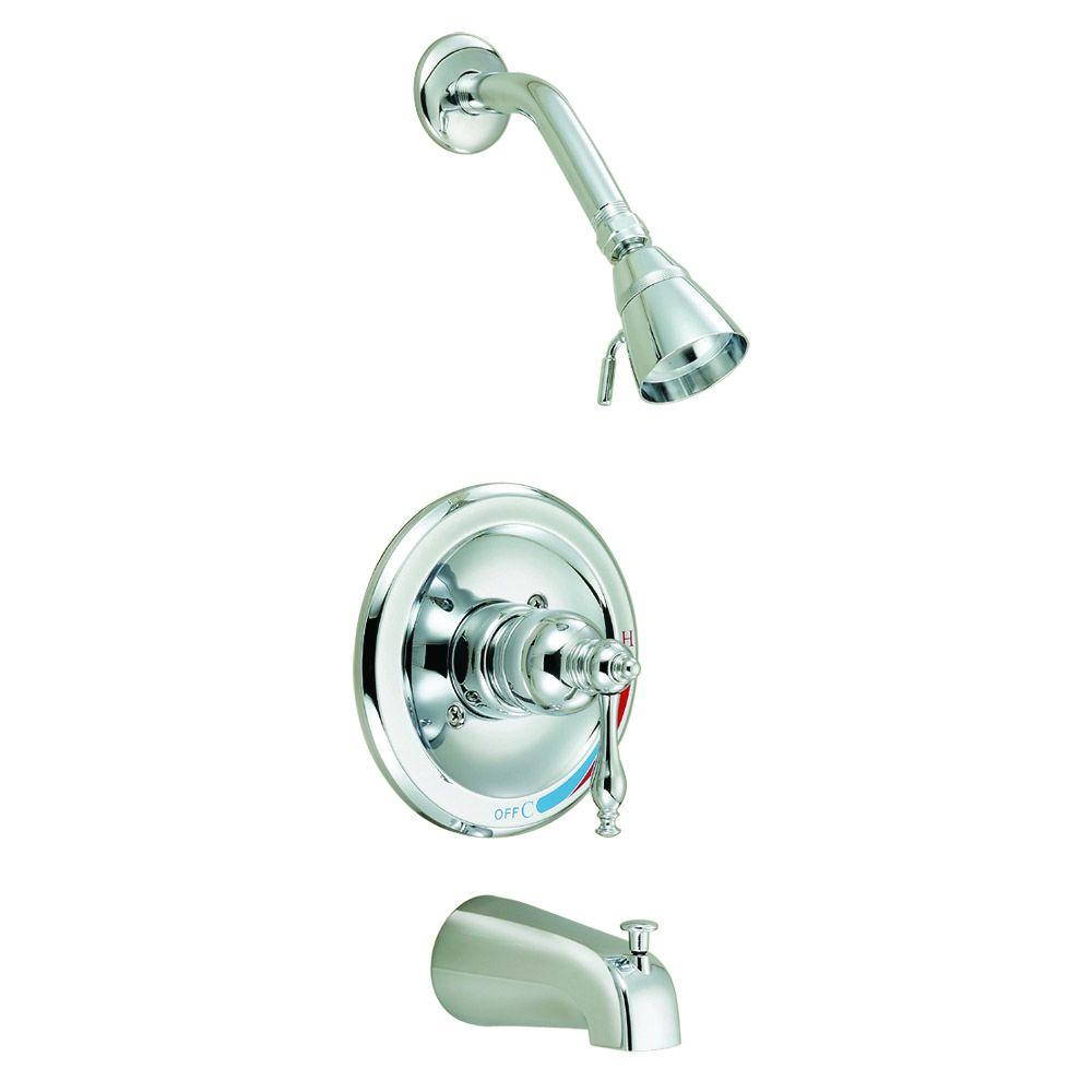 Design House Saratoga Single Handle 2 Spray Tub And Shower Faucet In Polished Chrome Valve
