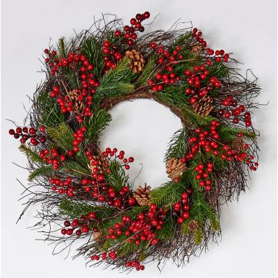 25 In Mixed Pine Berry Cone Wreath 7781 The Home Depot