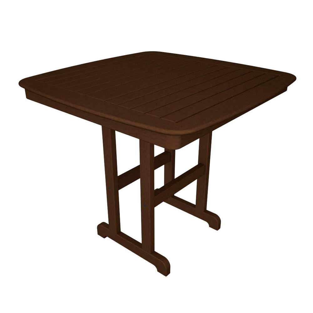 Nautical 44 in. Mahogany Plastic Outdoor Patio Counter Table