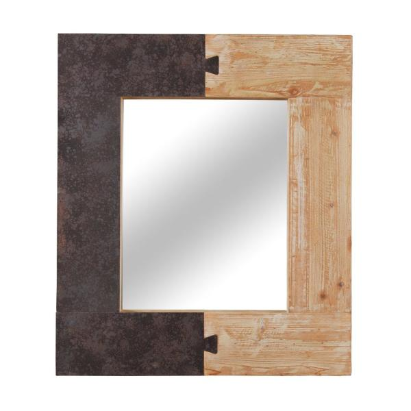 Medium Rectangle Brown Beveled Glass Casual Mirror (31.5 in. H x 27.25 in. W)